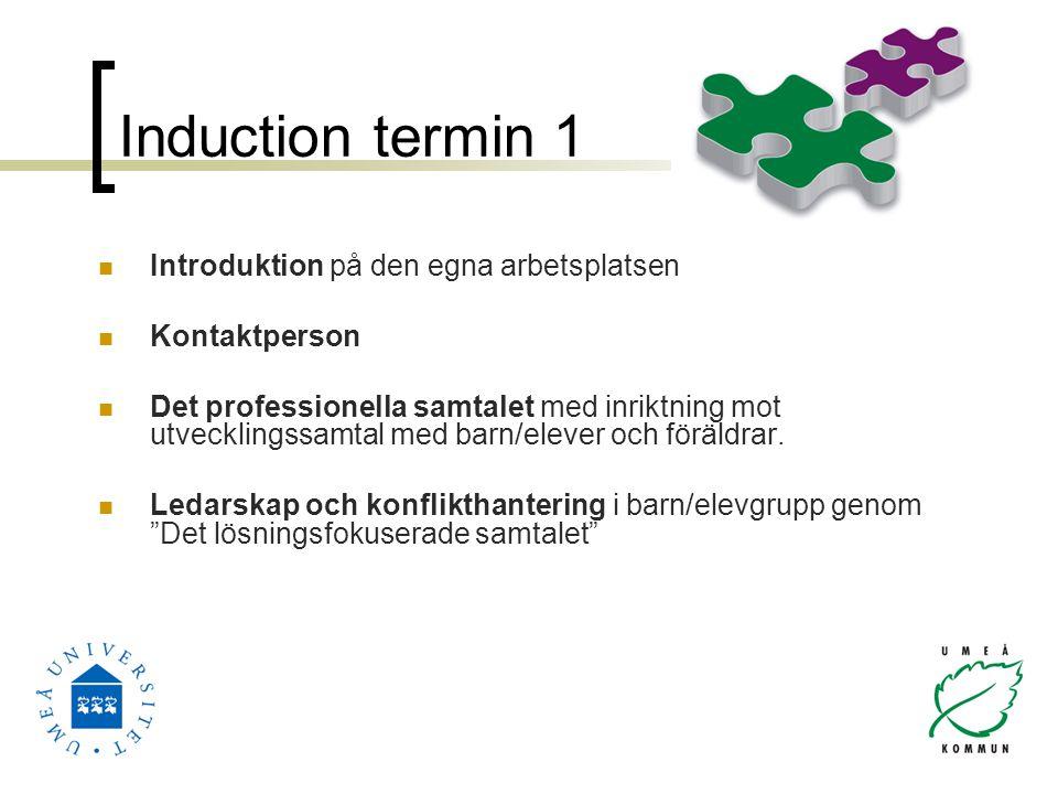 Induction termin 1 Introduktion på den egna arbetsplatsen Kontaktperson Det professionella samtalet med inriktning mot utvecklingssamtal med barn/elev