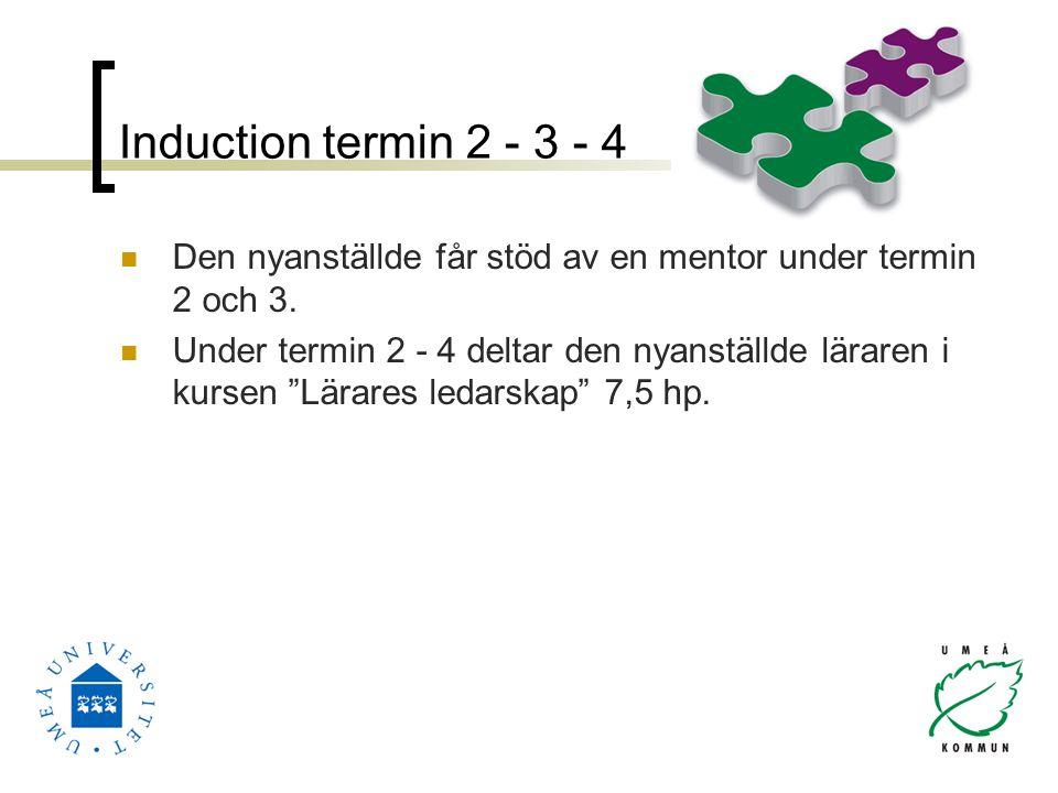 """Induction termin 2 - 3 - 4 Den nyanställde får stöd av en mentor under termin 2 och 3. Under termin 2 - 4 deltar den nyanställde läraren i kursen """"Lär"""