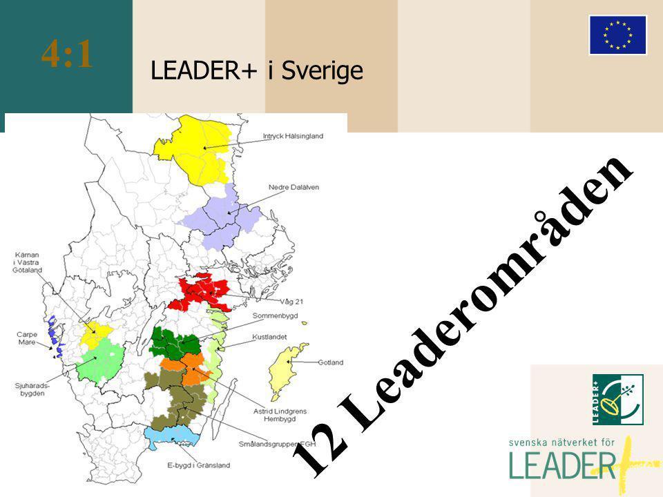 LEADER+ i Sverige 12 Leaderområden 4:1