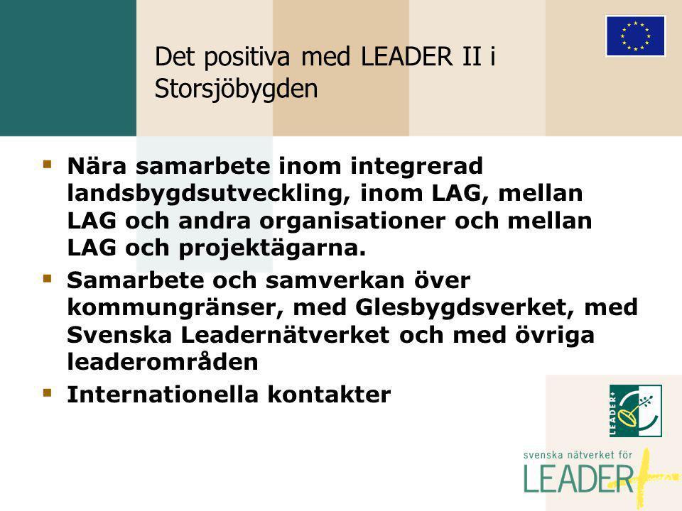 Det positiva med LEADER II i Storsjöbygden  Nära samarbete inom integrerad landsbygdsutveckling, inom LAG, mellan LAG och andra organisationer och mellan LAG och projektägarna.