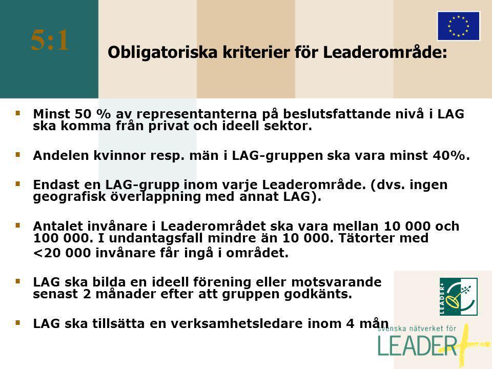 Obligatoriska kriterier för Leaderområde:  Minst 50 % av representanterna på beslutsfattande nivå i LAG ska komma från privat och ideell sektor.