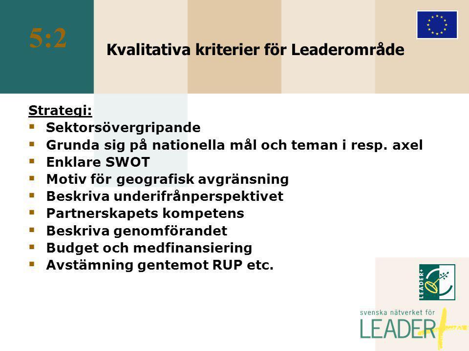 Kvalitativa kriterier för Leaderområde Strategi:  Sektorsövergripande  Grunda sig på nationella mål och teman i resp.