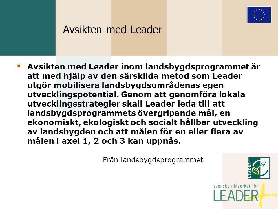 Avsikten med Leader  Avsikten med Leader inom landsbygdsprogrammet är att med hjälp av den särskilda metod som Leader utgör mobilisera landsbygdsområdenas egen utvecklingspotential.