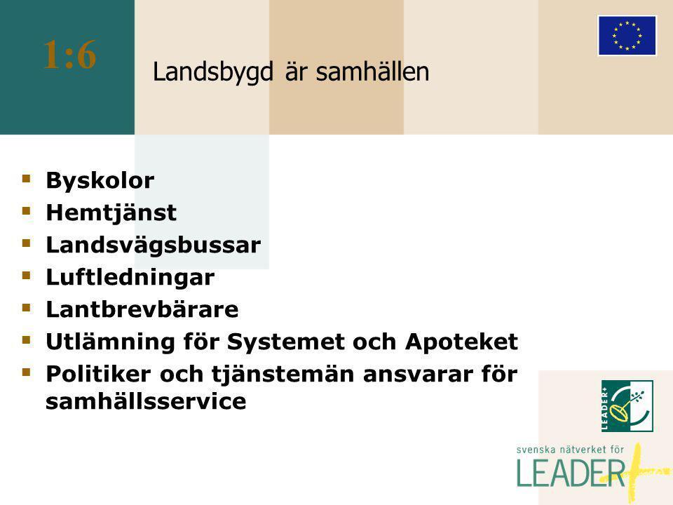 LEADER + i Sverige  En lokal aktionsgrupp, LAG, ett trepartnerskap  Utvecklingsplan för ett geografiskt avgränsat område  LAG tar emot och fördelar projektmedel  LAG har ett lokalt kansli  En myndighet fastställer besluten formellt Provar endast om stödet är lagligt  Trepartnerskap ofta även i projekten 4:2