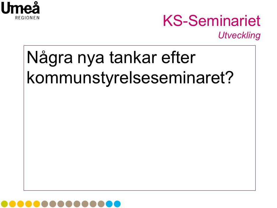 Några nya tankar efter kommunstyrelseseminaret? KS-Seminariet Utveckling