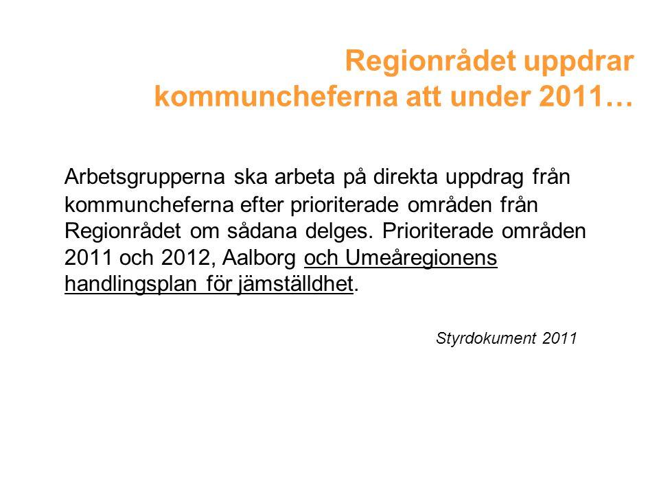 Regionrådet uppdrar kommuncheferna att under 2011… Arbetsgrupperna ska arbeta på direkta uppdrag från kommuncheferna efter prioriterade områden från Regionrådet om sådana delges.