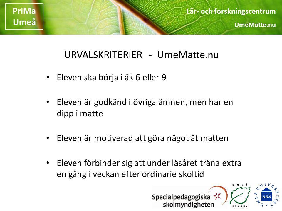 Lär- och forskningscentrum UmeMatte.nu PriMa Umeå Forskningsförankring MTM Learning Study Light Framgångsfaktorer