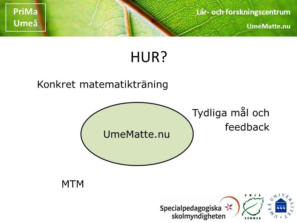 Lär- och forskningscentrum UmeMatte.nu PriMa Umeå DIRECT INSTRUCTION Adams & Engelman, 1996 Tydliga mål Hook Formativt arbetssätt Exit question Repetition
