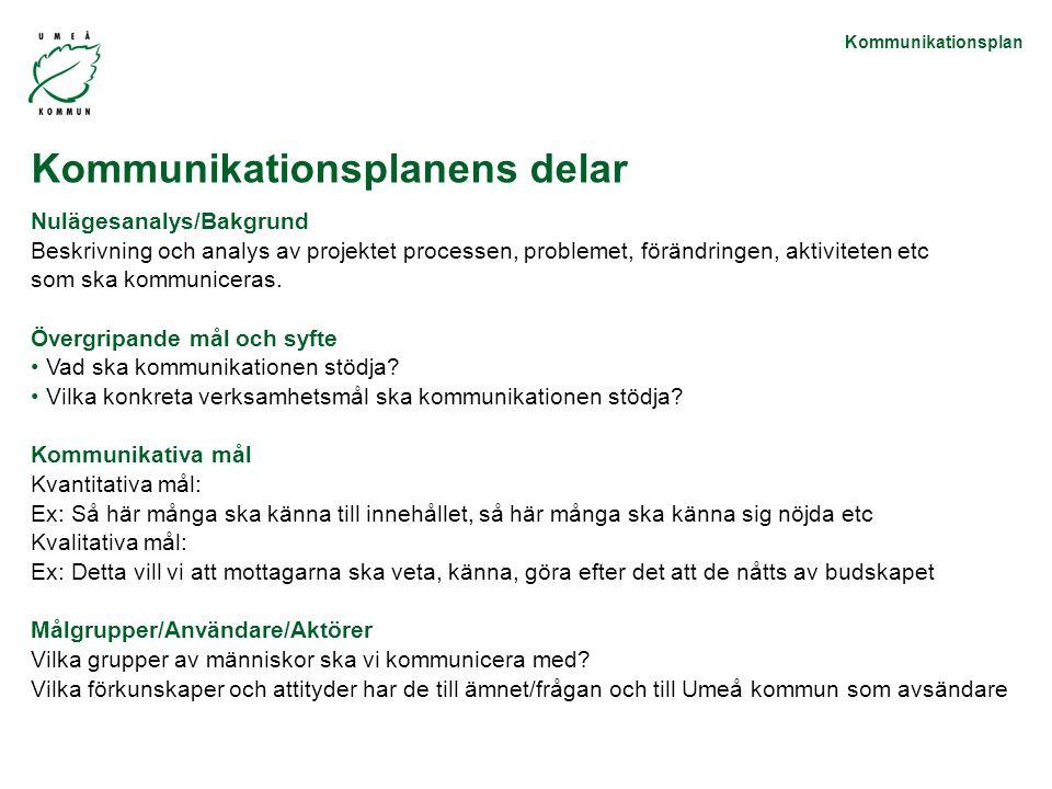 Kommunikationsplan Nulägesanalys/Bakgrund Beskrivning och analys av projektet processen, problemet, förändringen, aktiviteten etc som ska kommuniceras.