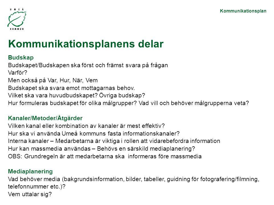 Kommunikationsplan Budskap Budskapet/Budskapen ska först och främst svara på frågan Varför.