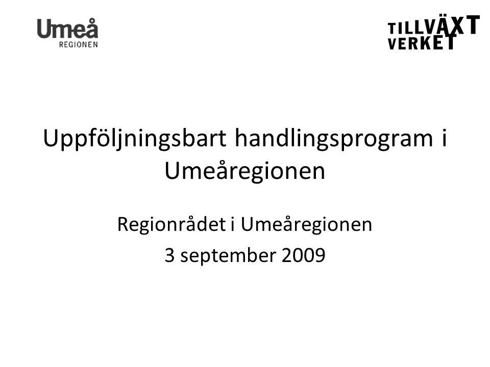 Uppföljningsbart handlingsprogram i Umeåregionen Regionrådet i Umeåregionen 3 september 2009