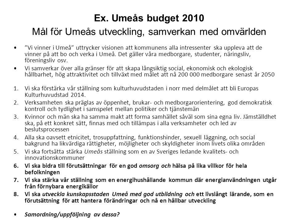 """Ex. Umeås budget 2010 Mål för Umeås utveckling, samverkan med omvärlden """"Vi vinner i Umeå"""" uttrycker visionen att kommunens alla intressenter ska uppl"""