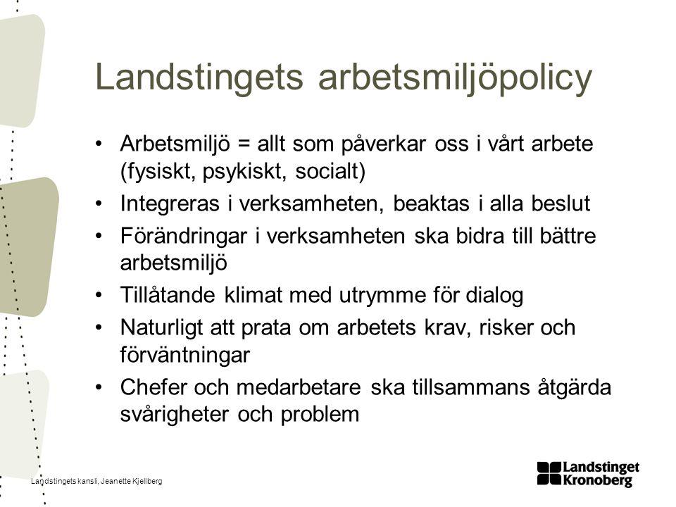 Landstingets kansli, Jeanette Kjellberg Landstingets arbetsmiljöpolicy Arbetsmiljö = allt som påverkar oss i vårt arbete (fysiskt, psykiskt, socialt) Integreras i verksamheten, beaktas i alla beslut Förändringar i verksamheten ska bidra till bättre arbetsmiljö Tillåtande klimat med utrymme för dialog Naturligt att prata om arbetets krav, risker och förväntningar Chefer och medarbetare ska tillsammans åtgärda svårigheter och problem