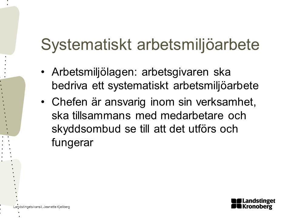 Landstingets kansli, Jeanette Kjellberg Arbetsmiljölagen: arbetsgivaren ska bedriva ett systematiskt arbetsmiljöarbete Chefen är ansvarig inom sin verksamhet, ska tillsammans med medarbetare och skyddsombud se till att det utförs och fungerar Systematiskt arbetsmiljöarbete