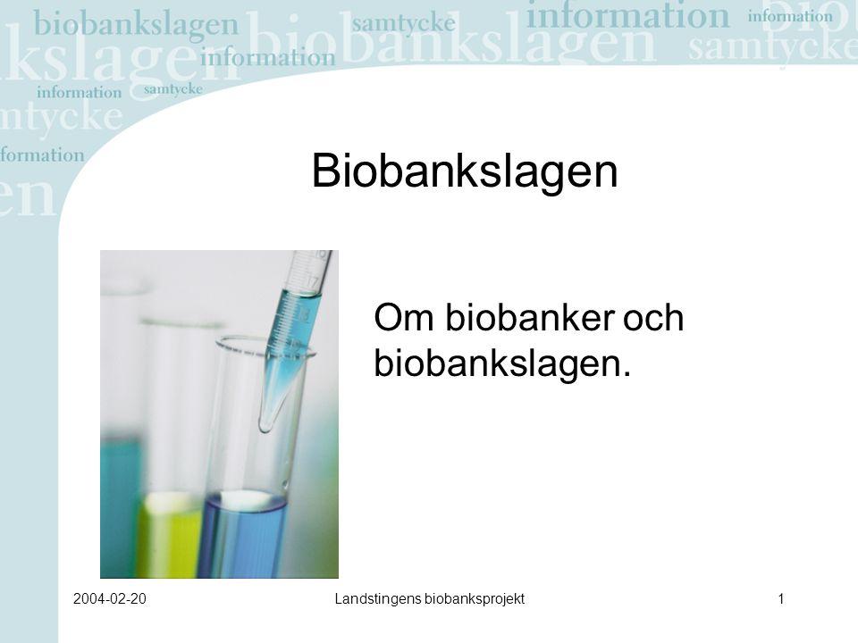 2004-02-20Landstingens biobanksprojekt32 Patienten/provgivaren väljer att inte spara provet Om patienten/provgivaren väljer att inte spara provet, måste han/hon informeras om att detta kan innebära risker i form av försämrad vård och behandling i framtiden.