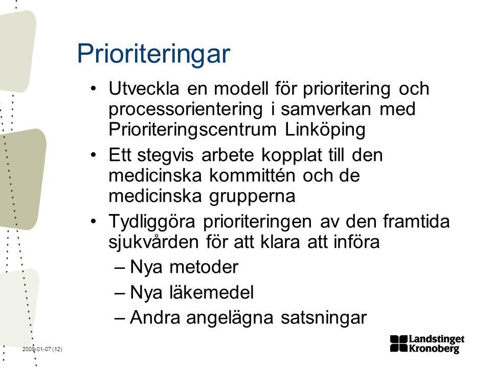2009-01-07 (12) Prioriteringar Utveckla en modell för prioritering och processorientering i samverkan med Prioriteringscentrum Linköping Ett stegvis arbete kopplat till den medicinska kommittén och de medicinska grupperna Tydliggöra prioriteringen av den framtida sjukvården för att klara att införa –Nya metoder –Nya läkemedel –Andra angelägna satsningar