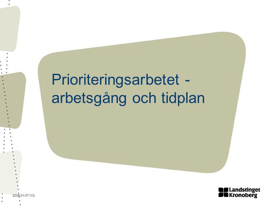 2009-01-07 (13) Prioriteringsarbetet - arbetsgång och tidplan