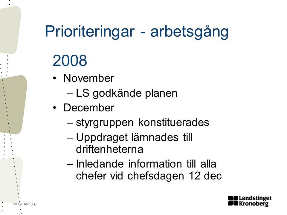 2009-01-07 (14) Prioriteringar - arbetsgång 2008 November –LS godkände planen December –styrgruppen konstituerades –Uppdraget lämnades till driftenheterna –Inledande information till alla chefer vid chefsdagen 12 dec
