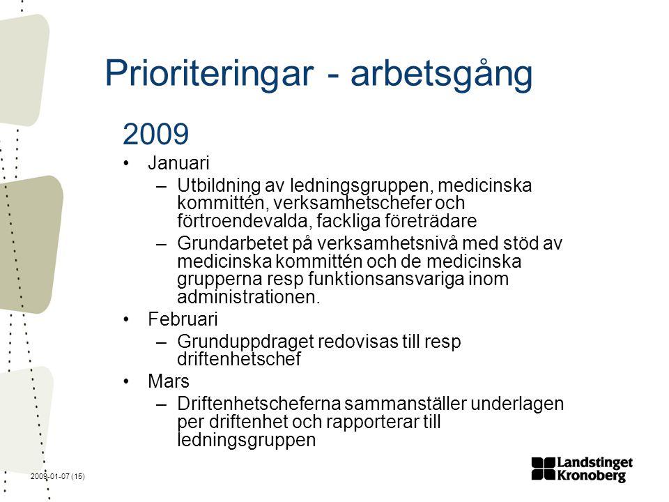 2009-01-07 (15) Prioriteringar - arbetsgång 2009 Januari –Utbildning av ledningsgruppen, medicinska kommittén, verksamhetschefer och förtroendevalda, fackliga företrädare –Grundarbetet på verksamhetsnivå med stöd av medicinska kommittén och de medicinska grupperna resp funktionsansvariga inom administrationen.