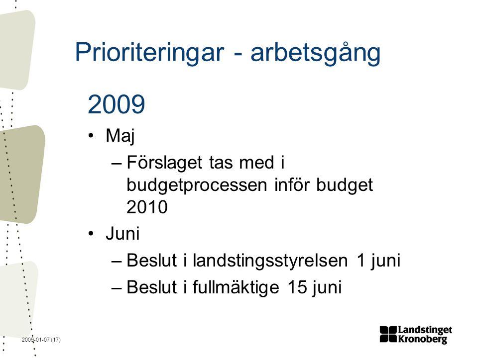 2009-01-07 (17) Prioriteringar - arbetsgång 2009 Maj –Förslaget tas med i budgetprocessen inför budget 2010 Juni –Beslut i landstingsstyrelsen 1 juni –Beslut i fullmäktige 15 juni