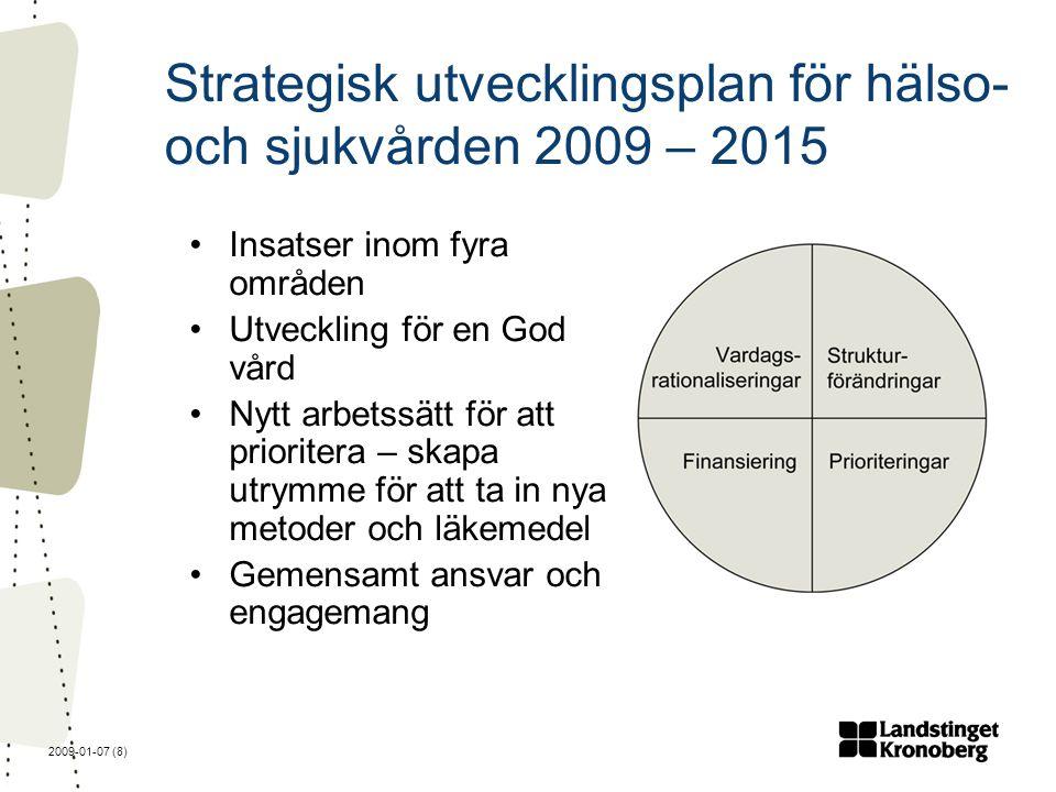2009-01-07 (8) Strategisk utvecklingsplan för hälso- och sjukvården 2009 – 2015 Insatser inom fyra områden Utveckling för en God vård Nytt arbetssätt för att prioritera – skapa utrymme för att ta in nya metoder och läkemedel Gemensamt ansvar och engagemang