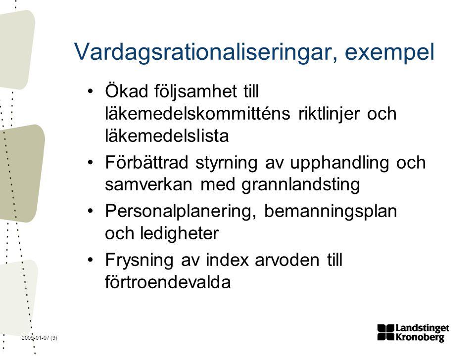 2009-01-07 (9) Vardagsrationaliseringar, exempel Ökad följsamhet till läkemedelskommitténs riktlinjer och läkemedelslista Förbättrad styrning av upphandling och samverkan med grannlandsting Personalplanering, bemanningsplan och ledigheter Frysning av index arvoden till förtroendevalda