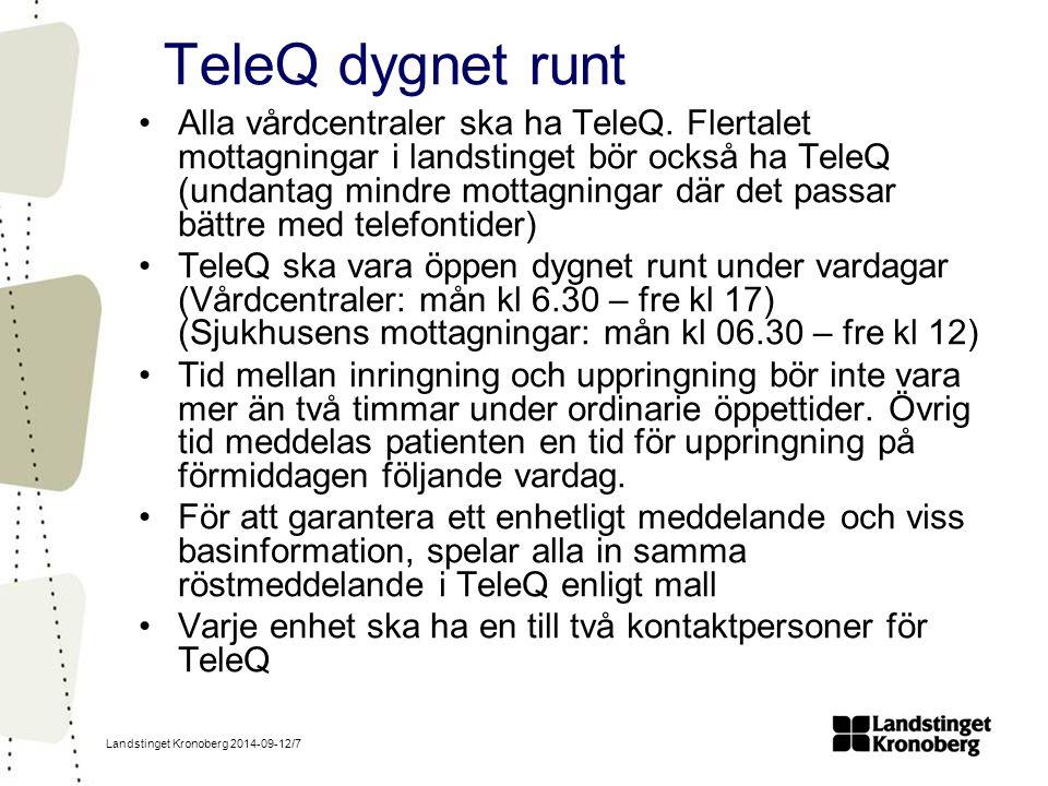 Landstinget Kronoberg 2014-09-12/7 TeleQ dygnet runt Alla vårdcentraler ska ha TeleQ.