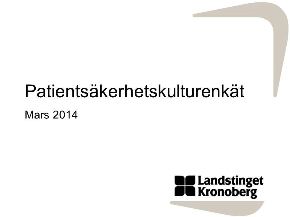 Patientsäkerhetskulturenkät Mars 2014