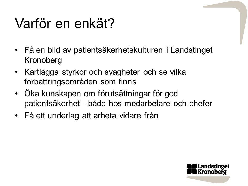Varför en enkät? Få en bild av patientsäkerhetskulturen i Landstinget Kronoberg Kartlägga styrkor och svagheter och se vilka förbättringsområden som f