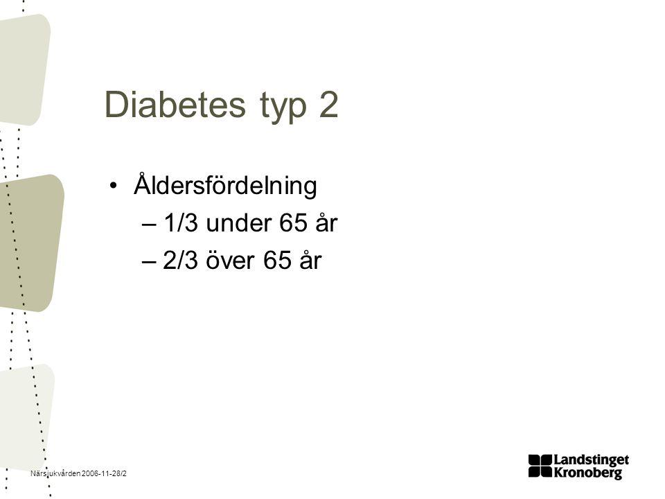 Närsjukvården 2006-11-28/13 DPP-4-hämmare (minskar nedbrytning av inkretiner) Januvia, Galvus, Onglyza Tabletter 1-2 ggr dagligen Viktigt att utvärdera efter tre månader Långtidsstudier saknas Äldre ej studerade