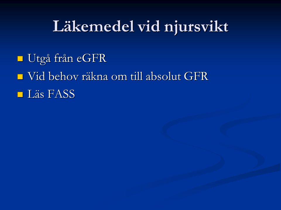 Läkemedel vid njursvikt Utgå från eGFR Utgå från eGFR Vid behov räkna om till absolut GFR Vid behov räkna om till absolut GFR Läs FASS Läs FASS