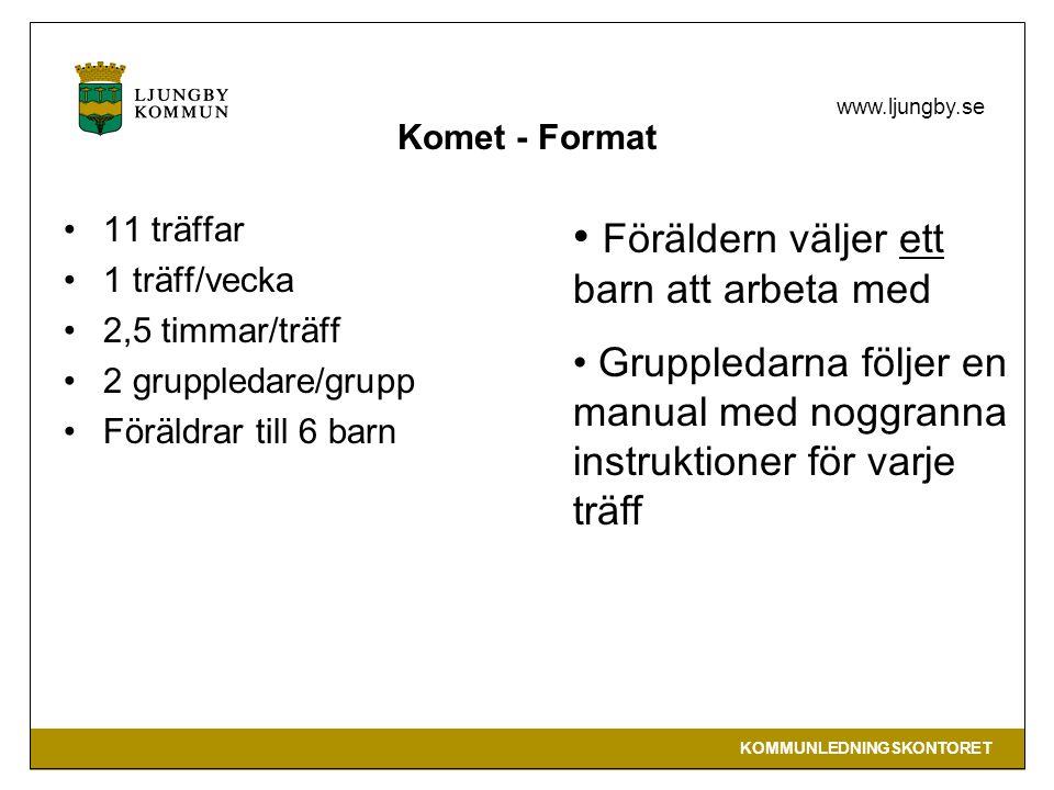 KOMMUNLEDNINGSKONTORET www.ljungby.se Komet - Format 11 träffar 1 träff/vecka 2,5 timmar/träff 2 gruppledare/grupp Föräldrar till 6 barn Föräldern väljer ett barn att arbeta med Gruppledarna följer en manual med noggranna instruktioner för varje träff