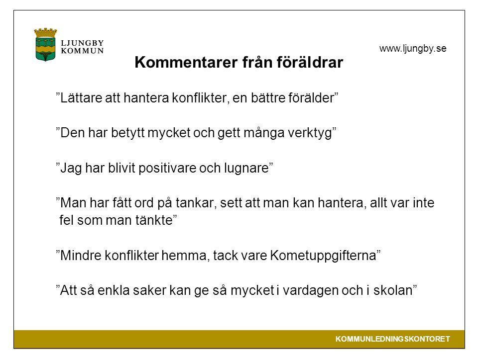 KOMMUNLEDNINGSKONTORET www.ljungby.se Mer information www.kometprogrammet.se Stockolm stads hemsidawww.kometprogrammet.se www.kometmetoden.se Hassler KBT (Ljungby kommuns utbildningsledare )www.kometmetoden.se