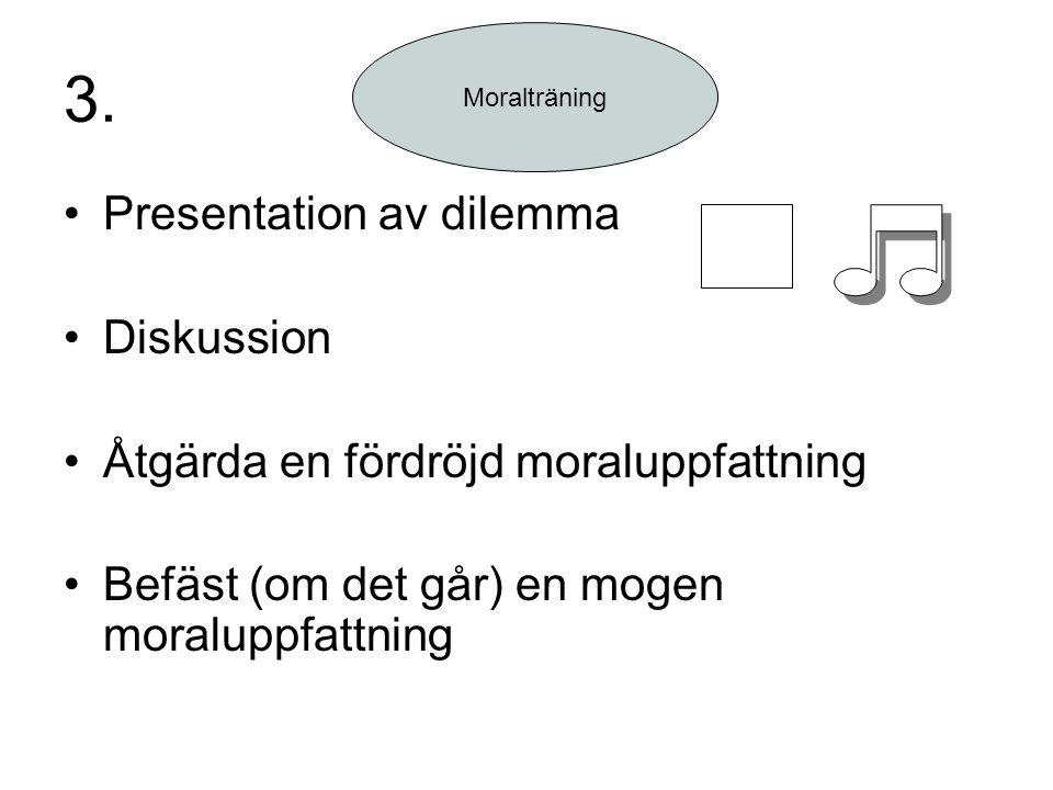 3. Presentation av dilemma Diskussion Åtgärda en fördröjd moraluppfattning Befäst (om det går) en mogen moraluppfattning Moralträning