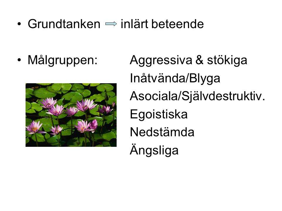 Grundtanken inlärt beteende Målgruppen:Aggressiva & stökiga Inåtvända/Blyga Asociala/Självdestruktiv. Egoistiska Nedstämda Ängsliga