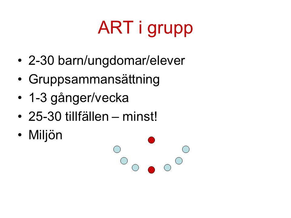 ART i grupp 2-30 barn/ungdomar/elever Gruppsammansättning 1-3 gånger/vecka 25-30 tillfällen – minst! Miljön