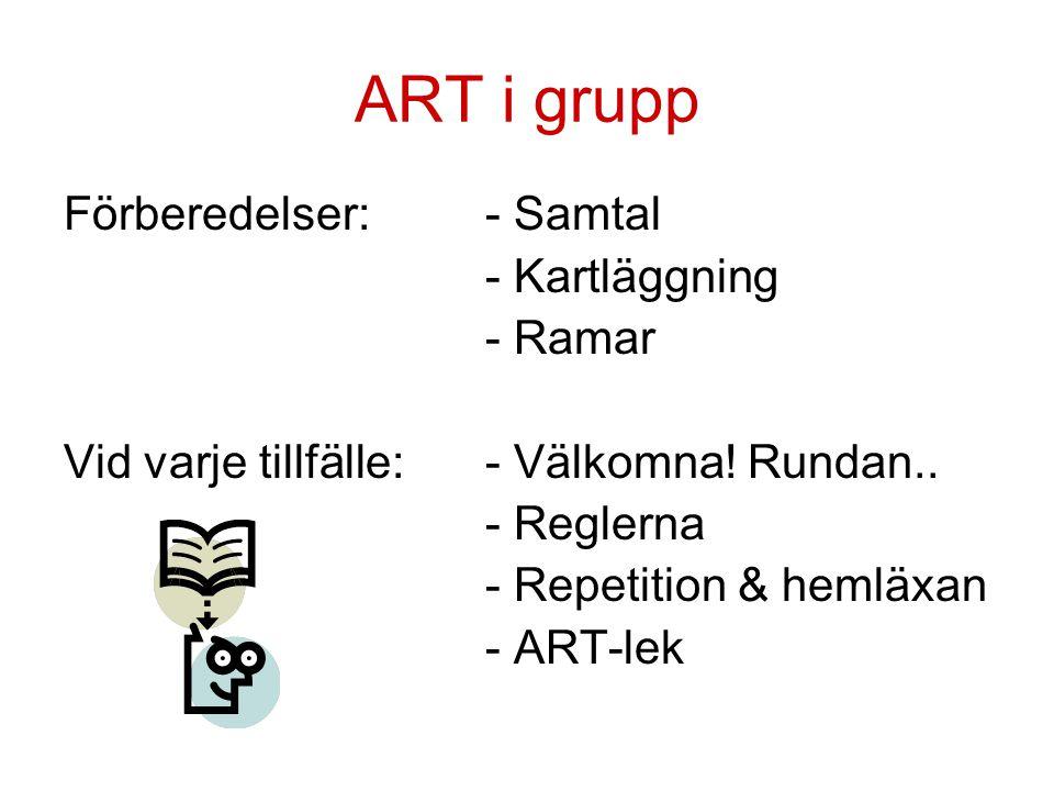 ART i grupp Förberedelser:- Samtal - Kartläggning - Ramar Vid varje tillfälle:- Välkomna! Rundan.. - Reglerna - Repetition & hemläxan - ART-lek