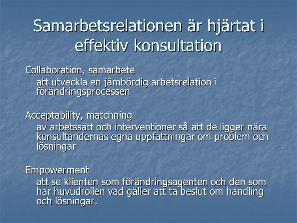 Samarbetsrelationen är hjärtat i effektiv konsultation Collaboration, samarbete att utveckla en jämbördig arbetsrelation i förändringsprocessen Acceptability, matchning av arbetssätt och interventioner så att de ligger nära konsultandernas egna uppfattningar om problem och lösningar Empowerment att se klienten som förändringsagenten och den som har huvudrollen vad gäller att ta beslut om handling och lösningar.