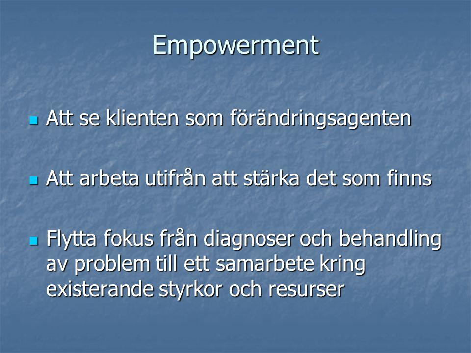 Empowerment Att se klienten som förändringsagenten Att se klienten som förändringsagenten Att arbeta utifrån att stärka det som finns Att arbeta utifrån att stärka det som finns Flytta fokus från diagnoser och behandling av problem till ett samarbete kring existerande styrkor och resurser Flytta fokus från diagnoser och behandling av problem till ett samarbete kring existerande styrkor och resurser