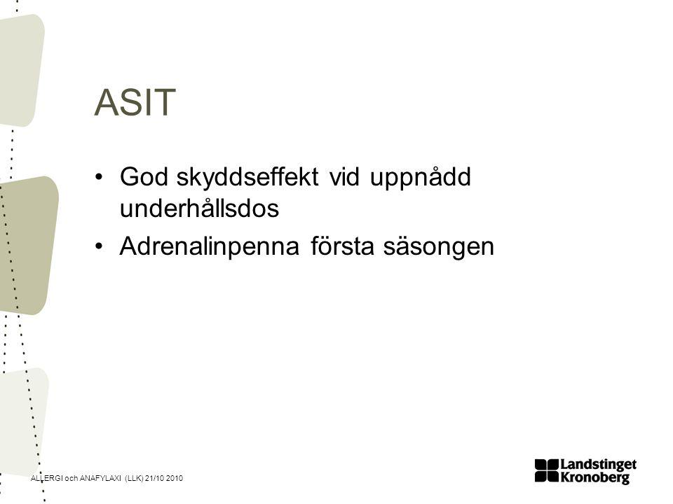 ALLERGI och ANAFYLAXI (LLK) 21/10 2010 ASIT God skyddseffekt vid uppnådd underhållsdos Adrenalinpenna första säsongen