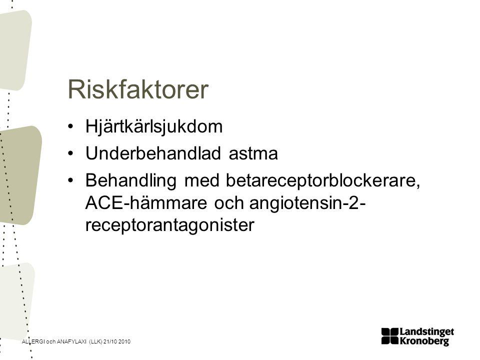 ALLERGI och ANAFYLAXI (LLK) 21/10 2010 Riskfaktorer Hjärtkärlsjukdom Underbehandlad astma Behandling med betareceptorblockerare, ACE-hämmare och angio