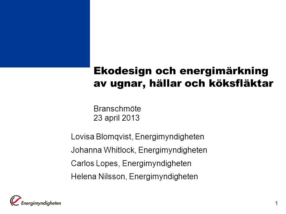 1 Ekodesign och energimärkning av ugnar, hällar och köksfläktar Branschmöte 23 april 2013 Lovisa Blomqvist, Energimyndigheten Johanna Whitlock, Energi