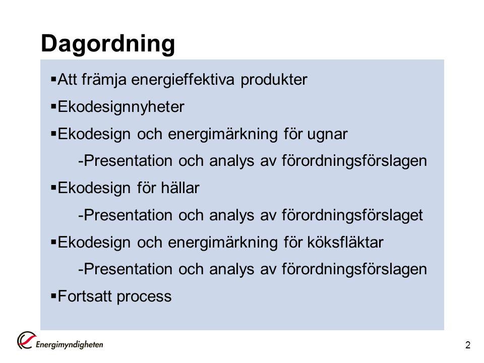 Dagordning  Att främja energieffektiva produkter  Ekodesignnyheter  Ekodesign och energimärkning för ugnar -Presentation och analys av förordningsf
