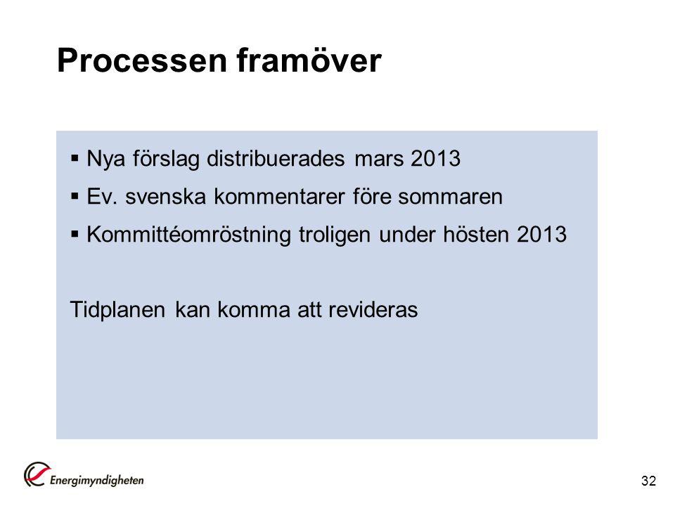 Processen framöver  Nya förslag distribuerades mars 2013  Ev. svenska kommentarer före sommaren  Kommittéomröstning troligen under hösten 2013 Tidp