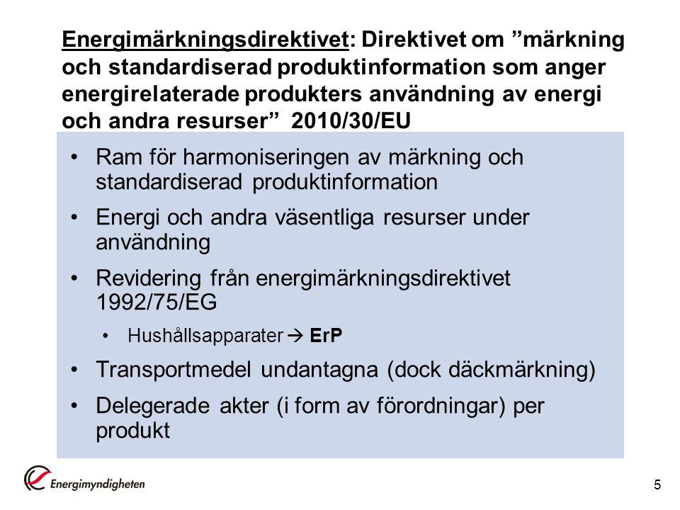 """Energimärkningsdirektivet: Direktivet om """"märkning och standardiserad produktinformation som anger energirelaterade produkters användning av energi oc"""