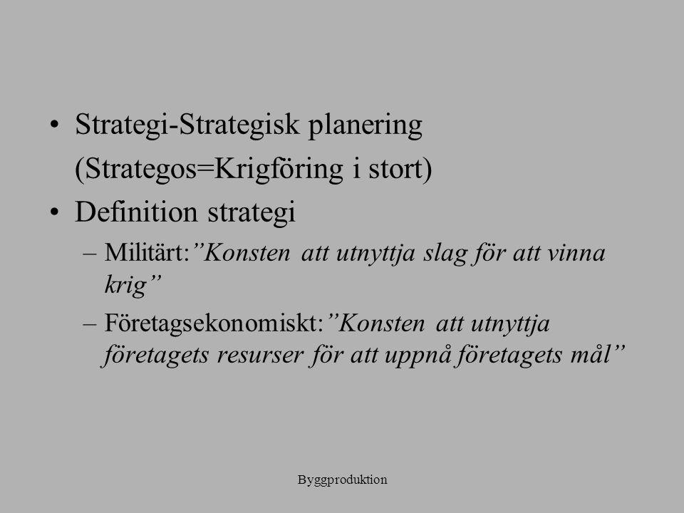 """Byggproduktion Strategi-Strategisk planering (Strategos=Krigföring i stort) Definition strategi –Militärt:""""Konsten att utnyttja slag för att vinna kri"""