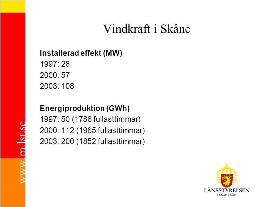 Vindkraft i Skåne Installerad effekt (MW) 1997: 28 2000: 57 2003: 108 Energiproduktion (GWh) 1997: 50 (1786 fullasttimmar) 2000: 112 (1965 fullasttimmar) 2003: 200 (1852 fullasttimmar)