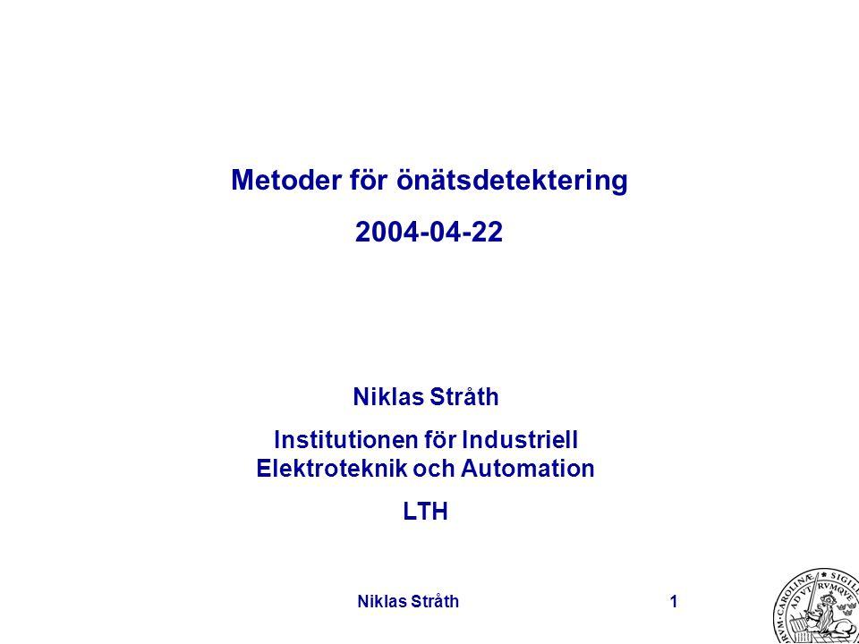 Niklas Stråth1 Metoder för önätsdetektering 2004-04-22 Niklas Stråth Institutionen för Industriell Elektroteknik och Automation LTH
