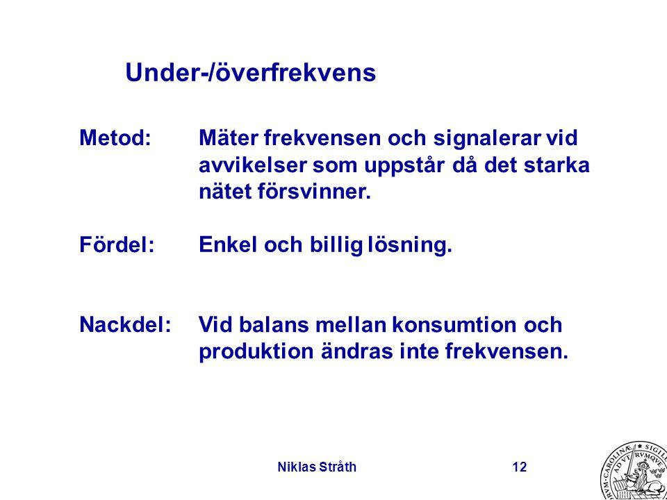 Niklas Stråth12 Under-/överfrekvens Mäter frekvensen och signalerar vid avvikelser som uppstår då det starka nätet försvinner. Enkel och billig lösnin