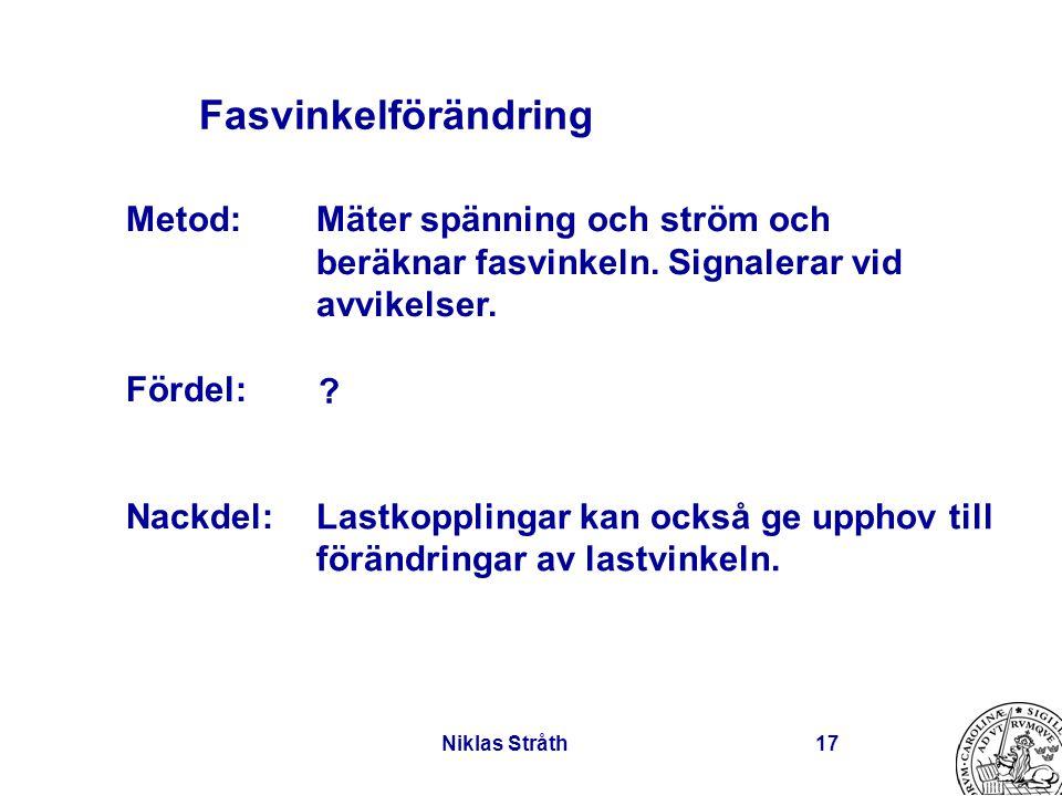 Niklas Stråth17 Fasvinkelförändring Mäter spänning och ström och beräknar fasvinkeln. Signalerar vid avvikelser. Lastkopplingar kan också ge upphov ti